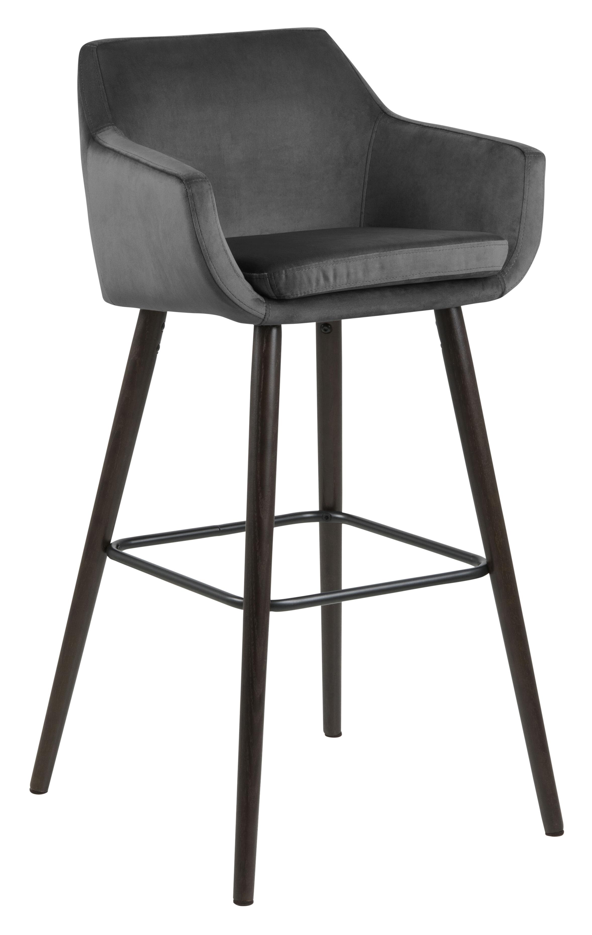 Bendt Barkruk 'Rikke' Velvet (zithoogte 79cm), kleur Donkergrijs