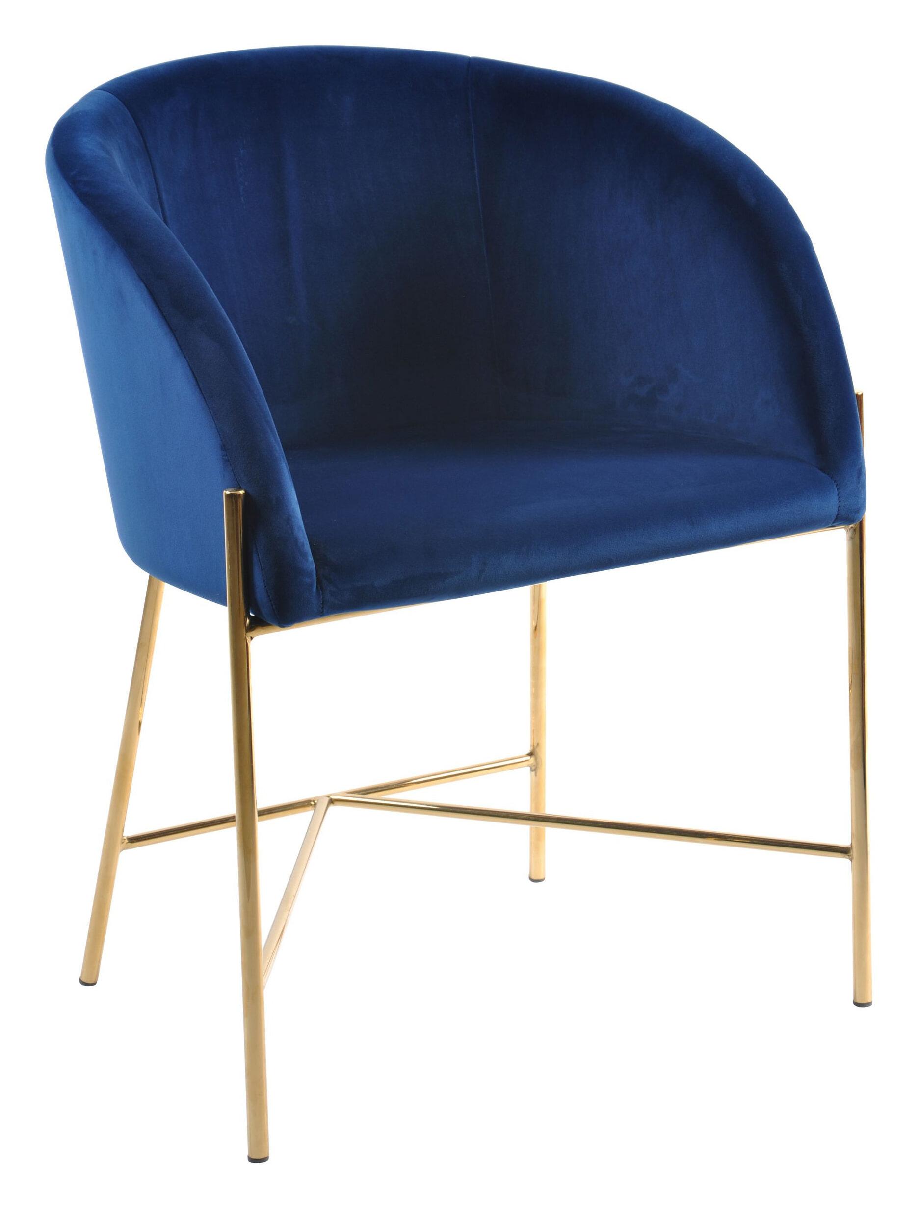 Interstil Eetkamerstoel 'Nelson Gold' Velvet, kleur Donkerblauw Zitmeubelen | Eetkamerstoelen vergelijken doe je het voordeligst hier bij Meubelpartner
