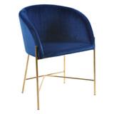 Interstil Eetkamerstoel 'Nelson Gold' Velvet, kleur Donkerblauw