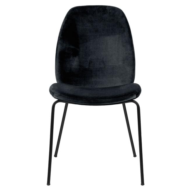 Bendt Eetkamerstoel 'Karen' Velvet, kleur Zwart