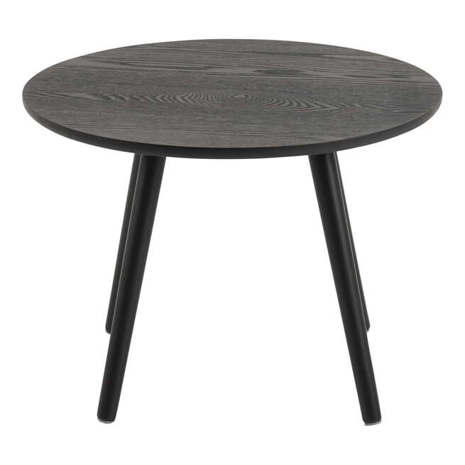 Bendt Ronde Bijzettafel 'Ali' Essenfineer, 50cm, kleur Zwart