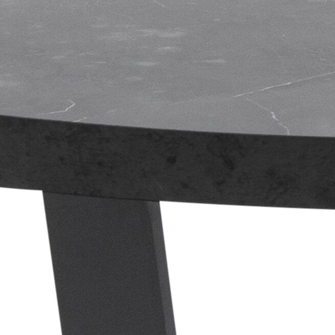 Bendt Ronde Salontafel 'Per' Ø77cm Marmerlook, kleur Zwart
