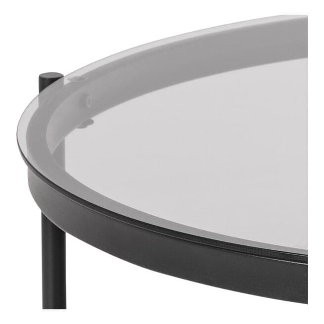 Bendt Ronde Glazen Salontafel 'Paw' 75cm, kleur zwart