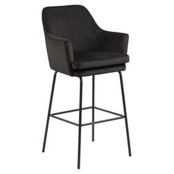 Bendt Barkruk 'Kian' Velvet (zithoogte 80cm), kleur Grey/Brown