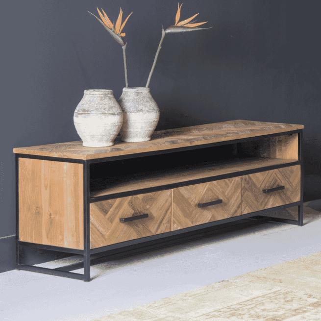 Sohome TV-meubel 'Hawaii' Teak en staal, 180cm