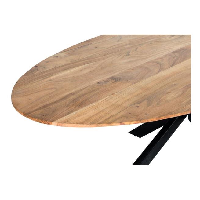 LivingFurn Ovale Eettafel 'Oslo' Acaciahout en staal, kleur Naturel
