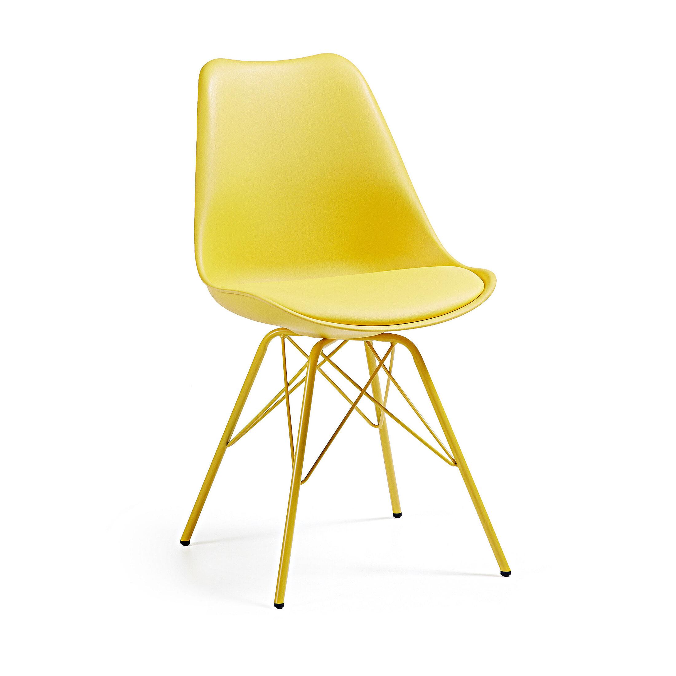 Kave Home Eetkamerstoel - Kuipstoel 'Ralf', kleur geel