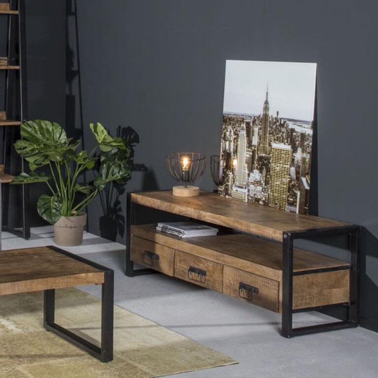 LivingFurn Industrieel TV-meubel 'Strong' Mango en staal, 180cm