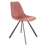 Dutchbone Eetkamerstoel 'Franky' Velvet, kleur Roze