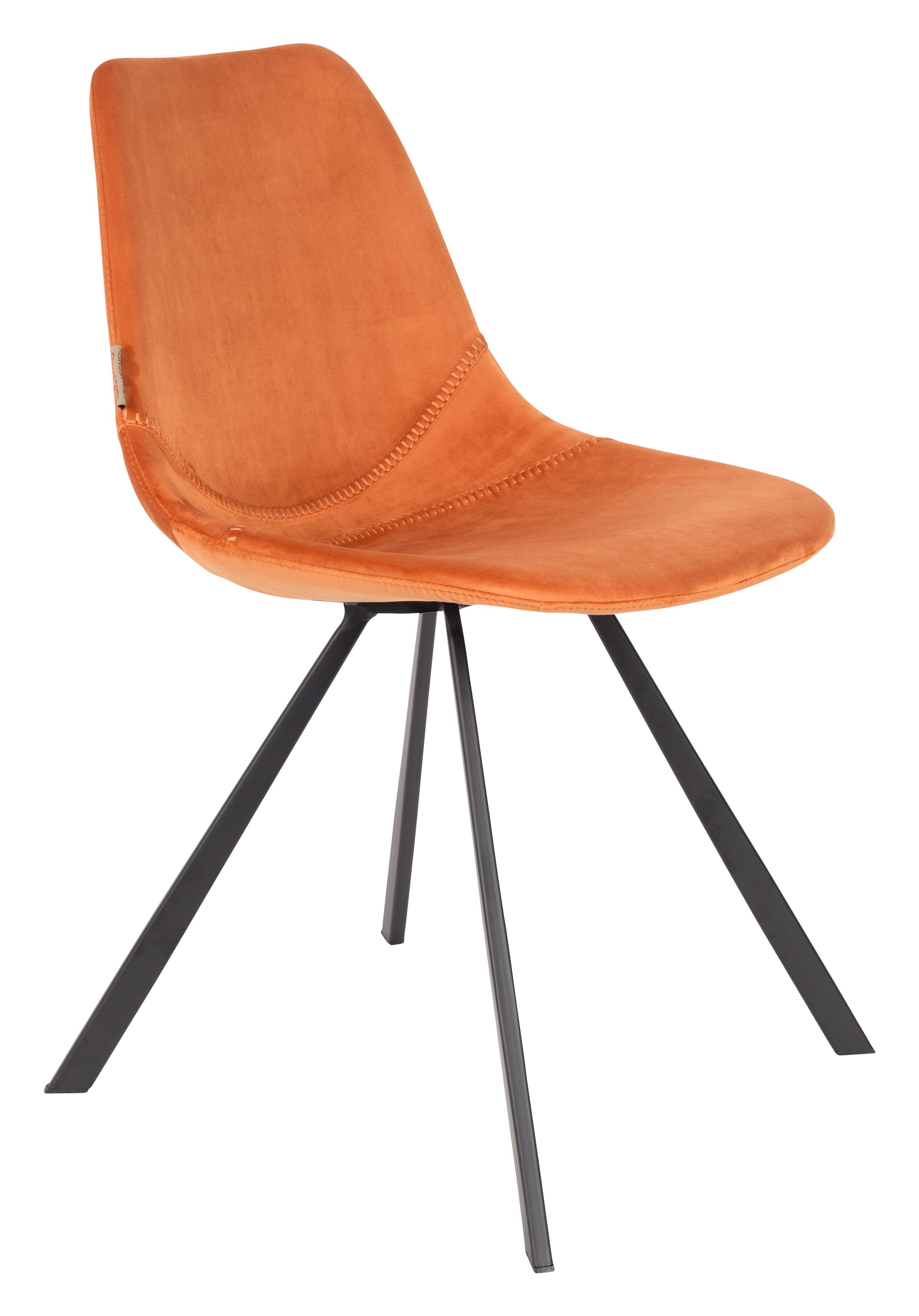 Dutchbone Eetkamerstoel 'Franky' Velvet, kleur Oranje