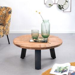 Eleonora Ronde Salontafel 'Mango Industrieel' met metalen poten Ø70cm