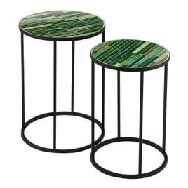J-Line Bijzettafel 'Lily' Set van 2 stuks, Mozaiek, kleur Groen