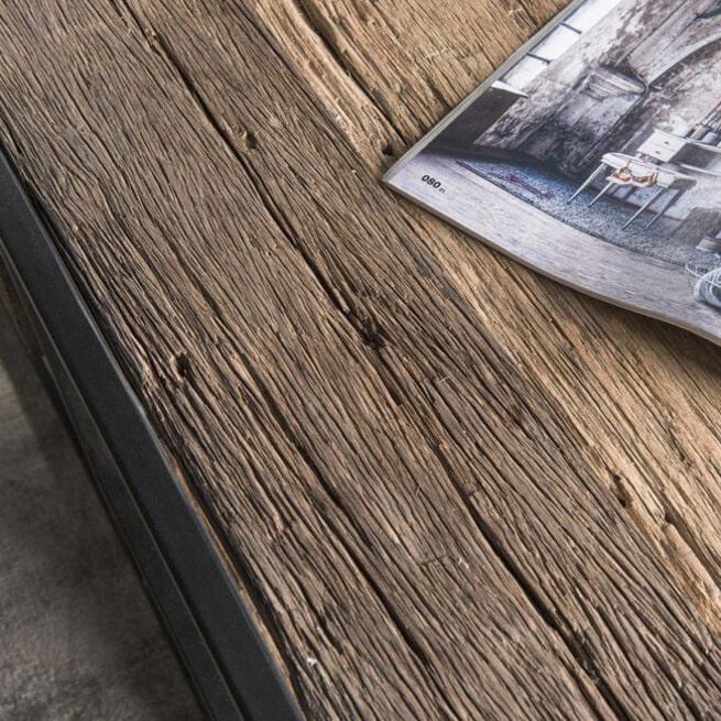 LivingFurn Salontafel 'Dakota' Riverwood en metaal, 120 x 70cm