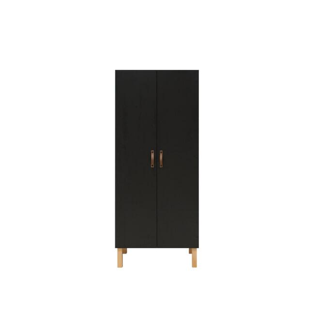 Bopita Kledingkast 'Floris' 2-deurs, kleur mat zwart / naturel