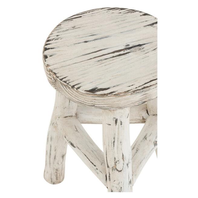 J-Line Krukje 'Lexy' Rond, White wash, 50cm hoog