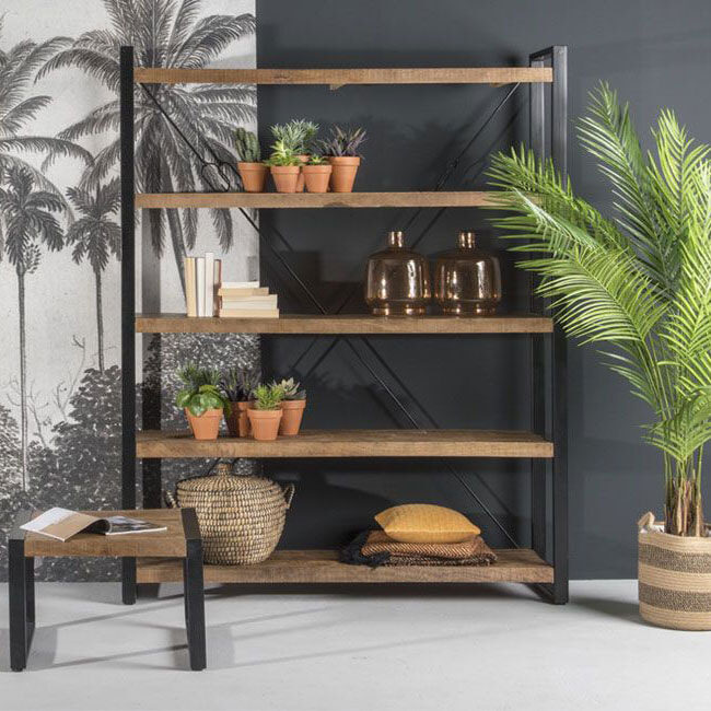 LivingFurn Boekenkast 'Strong' Mangohout en staal, 200 x 160cm
