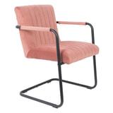 Dutchbone Eetkamerstoel 'Stitched' Velvet, kleur Roze
