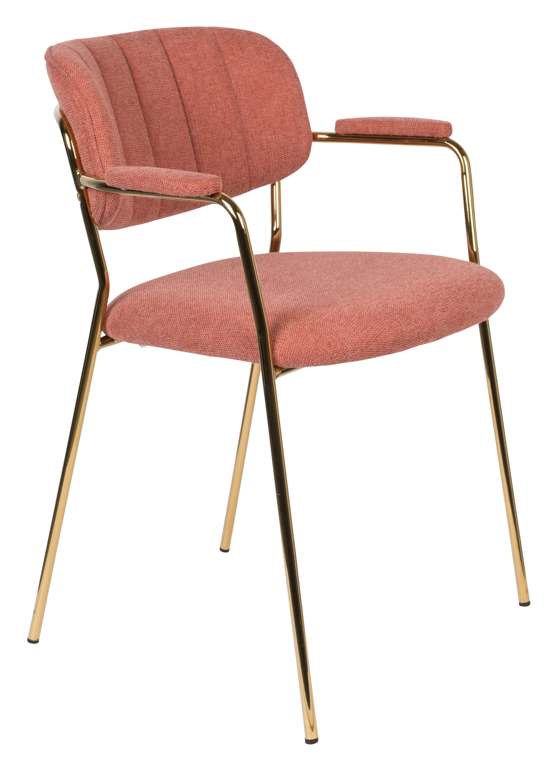 ZILT Eetkamerstoel 'Kolten' met armleuning, kleur Goud/Roze