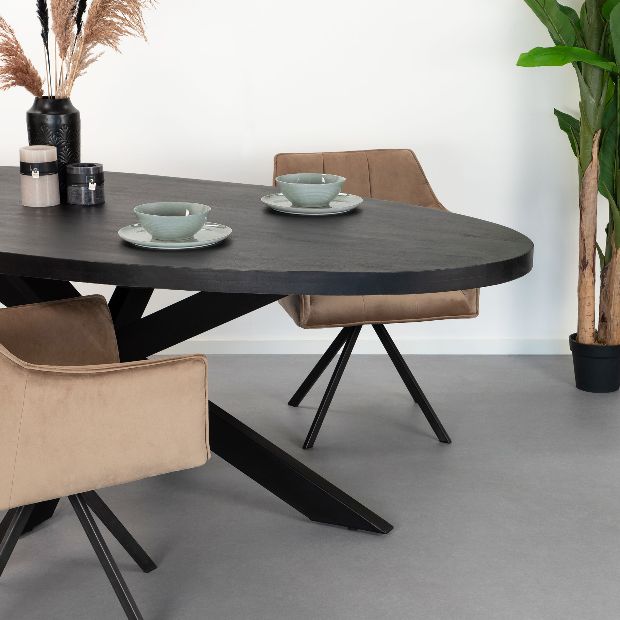 LivingFurn Ovale Eettafel 'Kala Spider' Mangohout en staal, 210 x 100cm