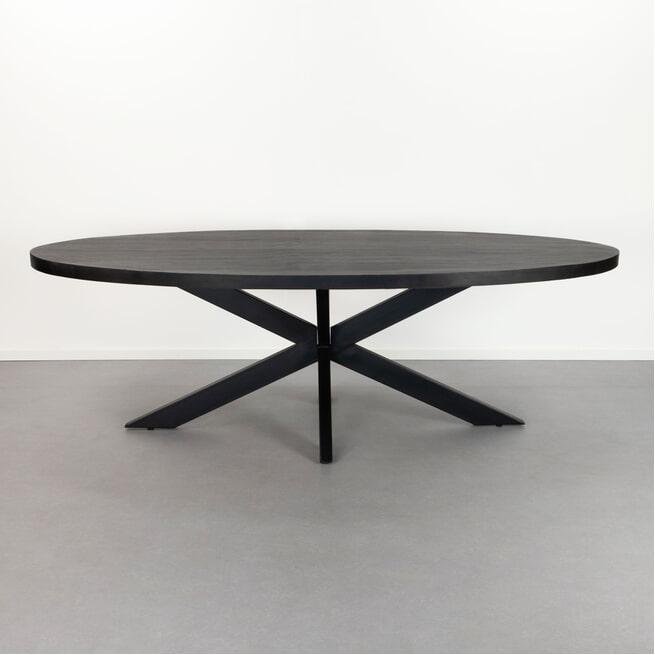 LivingFurn Ovale Eettafel 'Kala Spider' Mangohout en staal