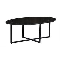 LivingFurn Ovale Salontafel 'Elize' kleur Zwart Marmer