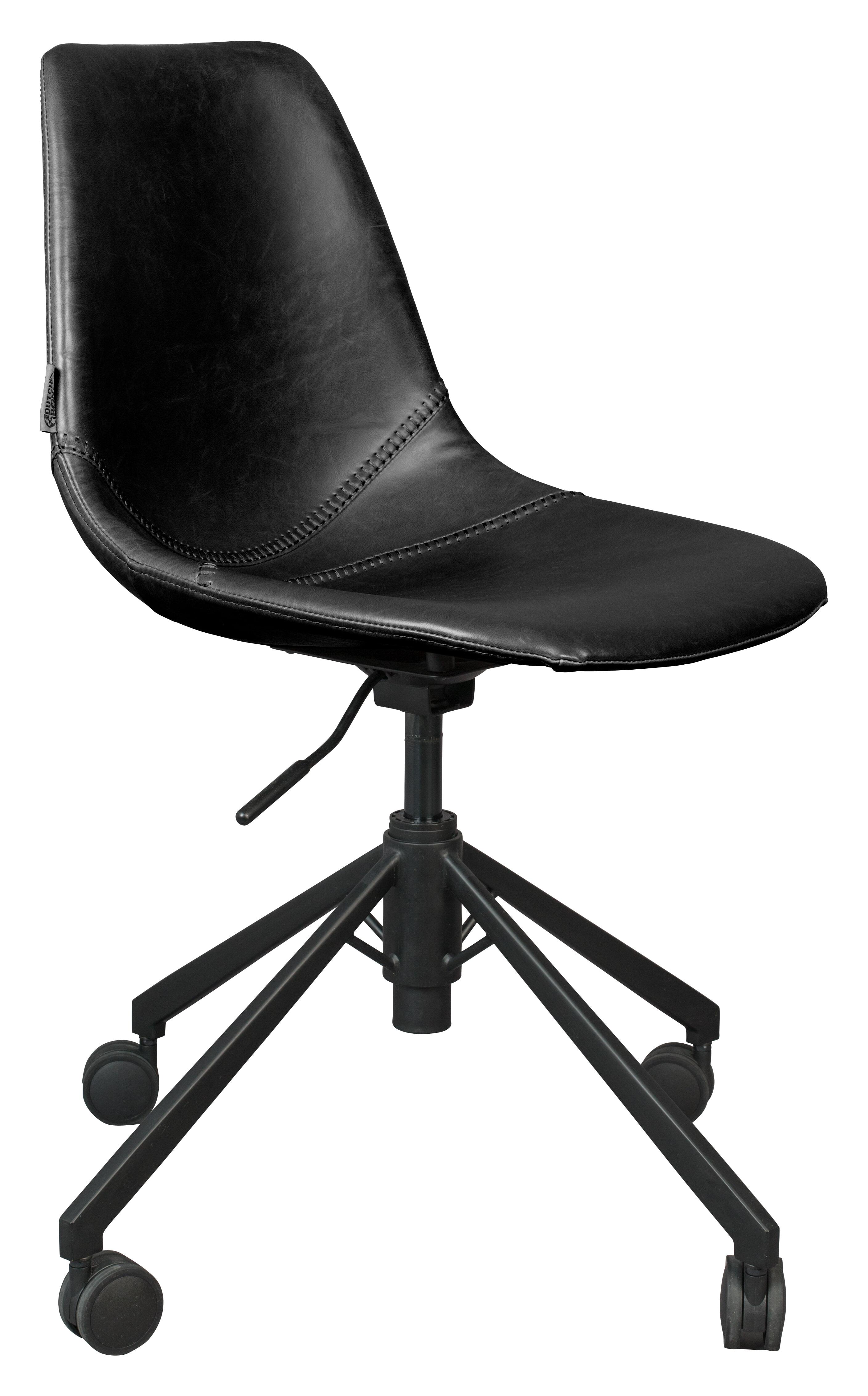 Dutchbone Bureaustoel 'Franky' PU, kleur Zwart