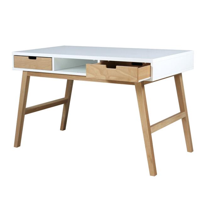 Bopita Bureau 'Lynn' 126 x 65cm, kleur wit / naturel