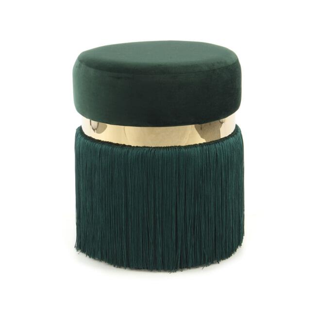 Kayoom Poef 'Rebecca' Velvet met franjes, 38cm, kleur groen