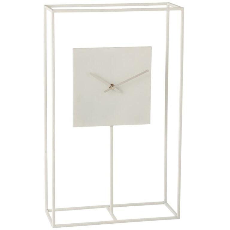 J-Line Klok 'Modeste' in frame, kleur Wit