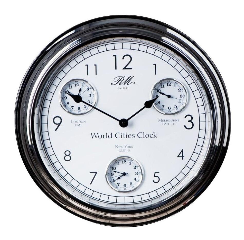 Riviera Maison World Cities Clock Klok Aluminium; Glas Zilver; Wit online kopen