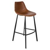 Dutchbone Barkruk 'Franky' PU (zithoogte 80cm), kleur Bruin