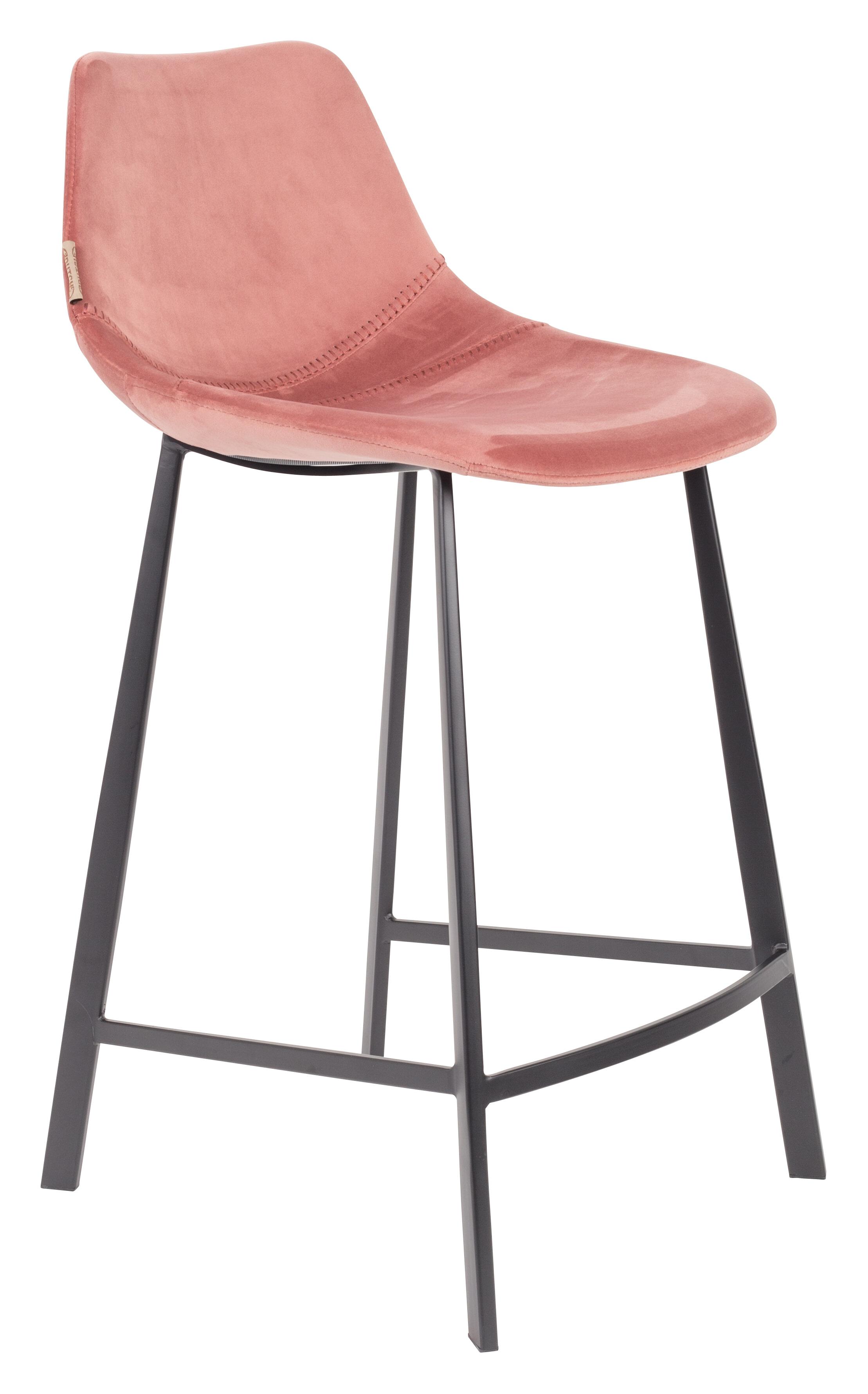 Dutchbone Barkruk 'Franky' Velvet (zithoogte 65cm), kleur Roze