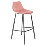Dutchbone Barkruk 'Franky' Velvet (zithoogte 80cm), kleur Roze