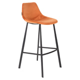 Dutchbone Barkruk 'Franky' Velvet (zithoogte 80cm), kleur Oranje