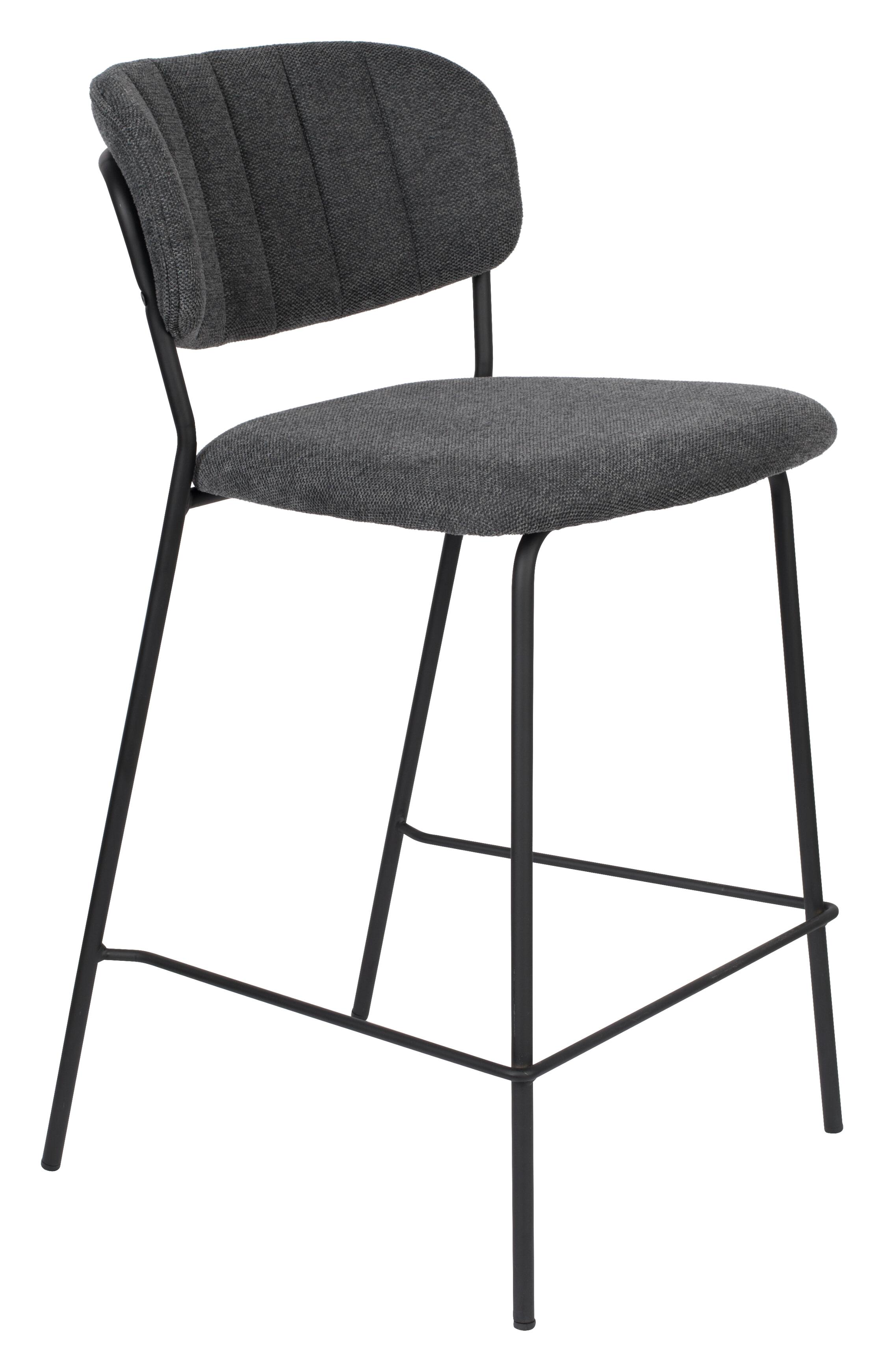ZILT Barstoel 'Kolten' kleur Zwart/Donkergrijs (zithoogte 65cm)