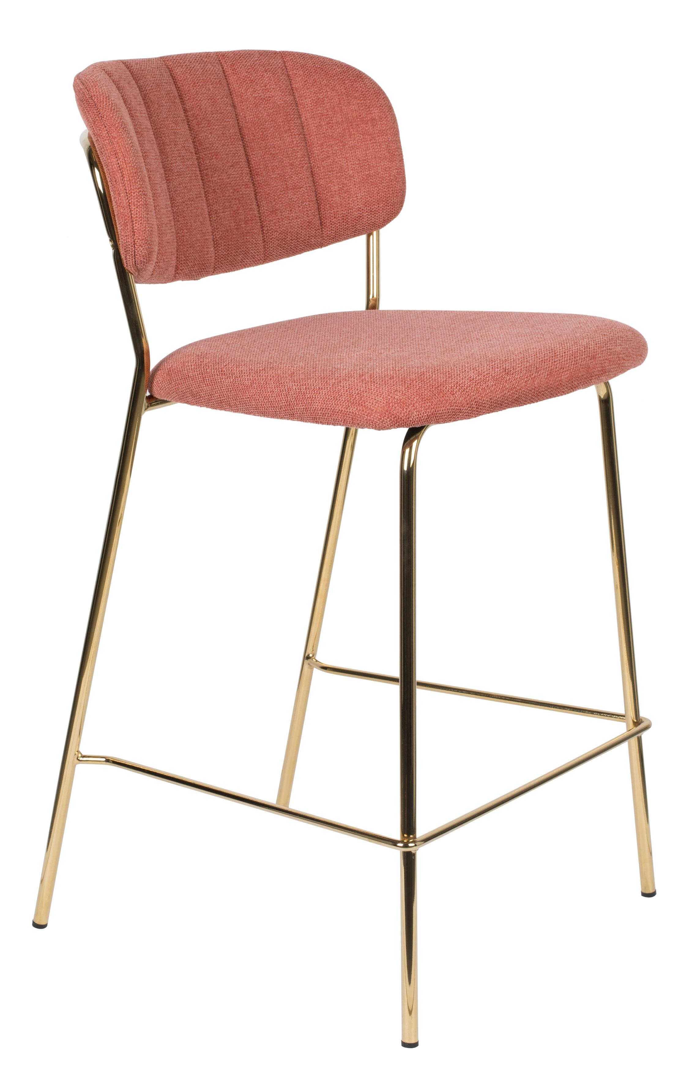 ZILT Barstoel 'Kolten' kleur Goud/Roze (zithoogte 65cm)