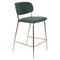ZILT Barstoel 'Kolten' kleur Goud/Donkergroen (zithoogte 65cm)