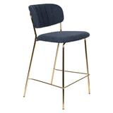 ZILT Barstoel 'Kolten' kleur Goud/Donkerblauw (zithoogte 65cm)