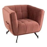 J-Line Fauteuil 'Fritz' Velvet, kleur Roze
