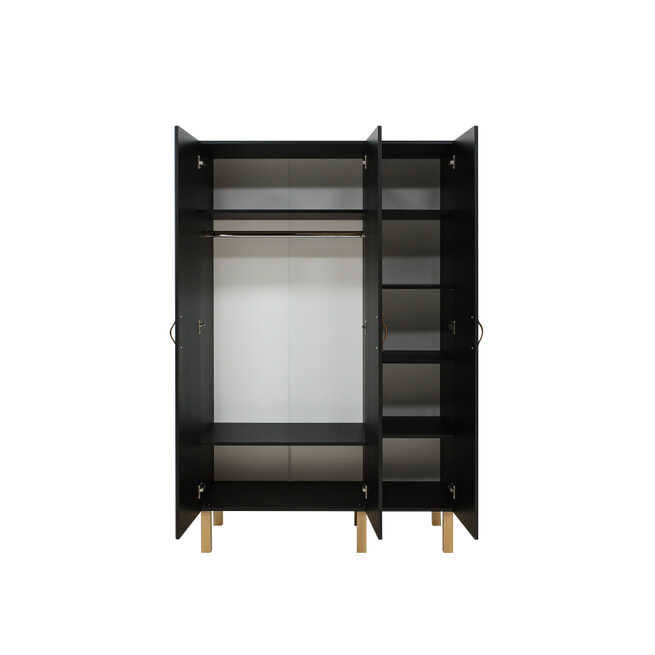 Bopita Kledingkast 'Floris' 3-deurs, kleur mat zwart / naturel