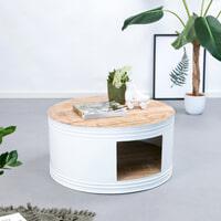 By-Boo Salontafel 'Barrel' 70cm, kleur wit