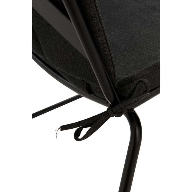 J-Line Stoel+kussen 'Augusta', kleur Zwart