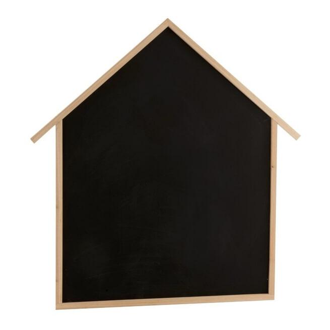 J-Line Krijtbord 'Evaristus' Huis, kleur Naturel / Zwart