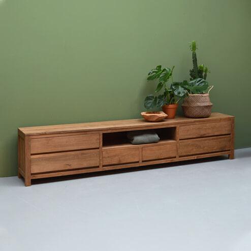 LivingFurn TV-meubel 'Inal' Teak, 280cm