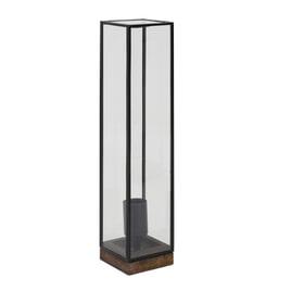 Light & Living Tafellamp 'Askjer', hout bruin+zwart+glas