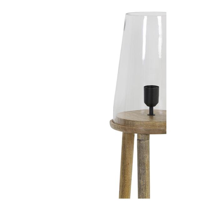 Light & Living Vloerlamp 'Novan', glas hout naturel