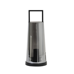 Light & Living Tafellamp 'Amando', glas smoke grijs+mat zwart