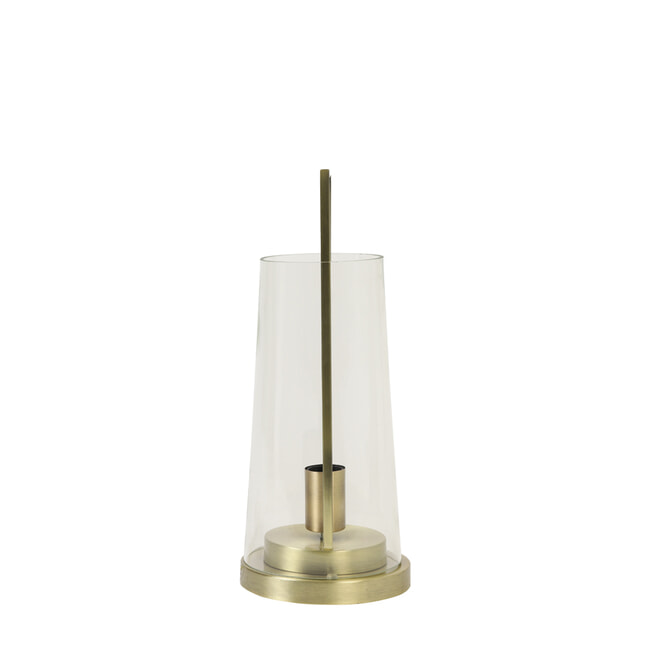 Light & Living Tafellamp 'Amando', glas helder+brons
