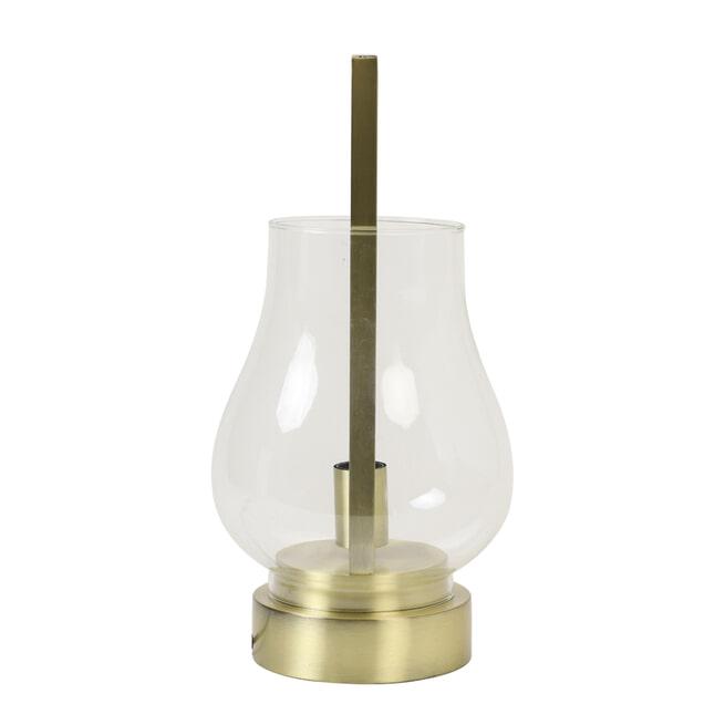 Light & Living Tafellamp 'Amanda', glas helder+brons