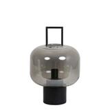 Light & Living Tafellamp 'Arturos', glas smoke grijs+mat zwart